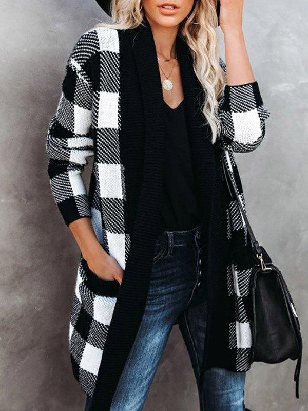 Mid Length Plaid Cardigan Coat - Black M