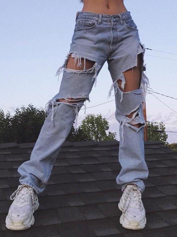 High Waist Ripped Boyfriend Jeans - Blue S