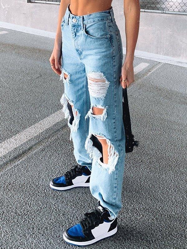 Ripped Boyfriend Jeans - Blue M