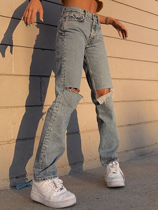 High Waist Distressed Ripped Jeans - Blue S