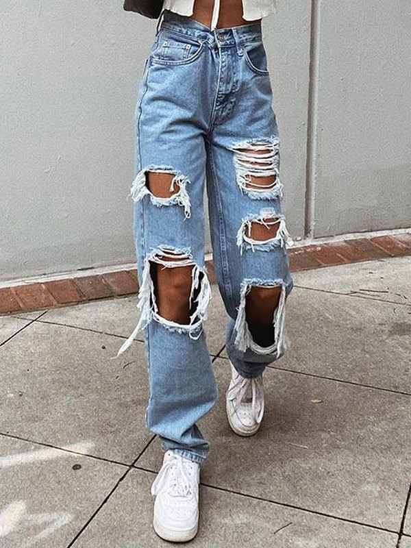 Ripped High Waist Ripped Jeans - Blue M