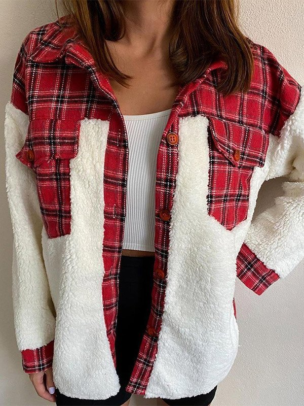 Shacket Plaid Stitching Lambswool Jacket - Red S