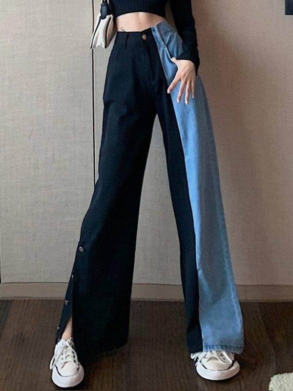 Two-tone High Waist Boyfriend Jeans - Blue XS