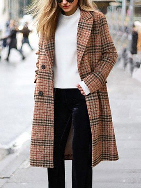 Long Sleeve Plaid Woolen Coat - Brown 2XL