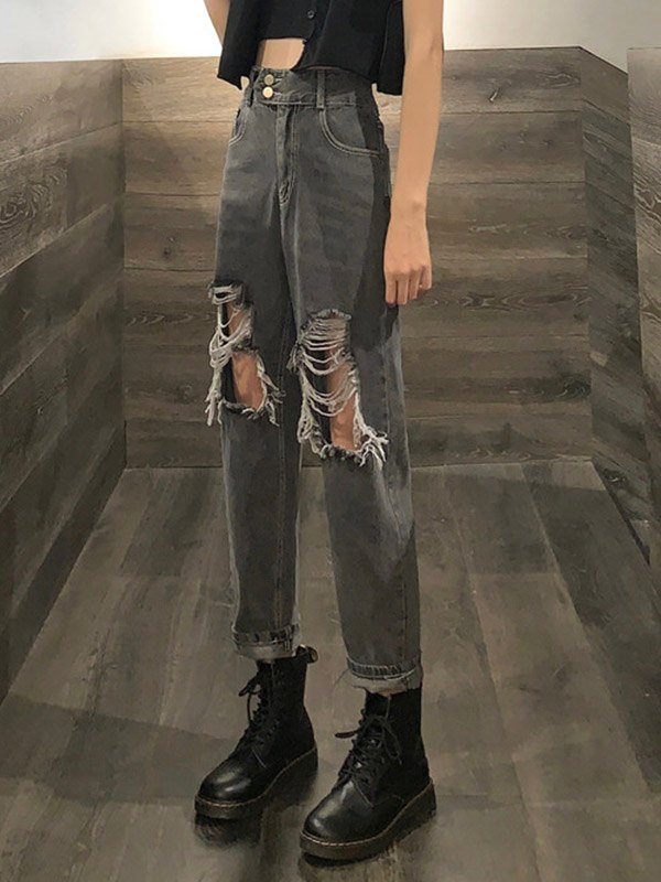 Ripped High Waisted Ripped Jeans - Black M