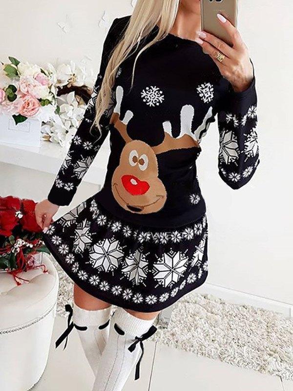 Christmas Elk Snowflake Print Mini Dress - Black M
