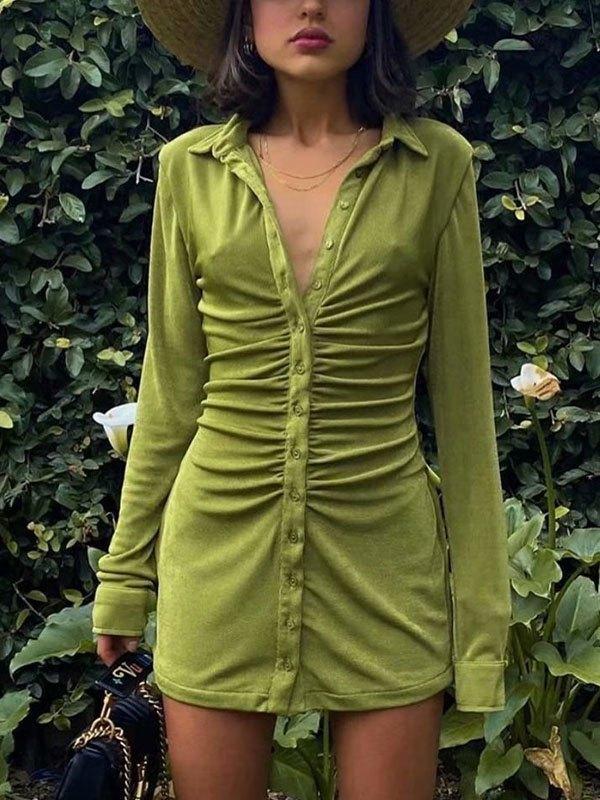 Ruched Velvet Shirt Mini Dress - Green M