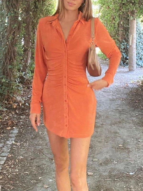 Ruched Velvet Shirt Mini Dress - Orange S