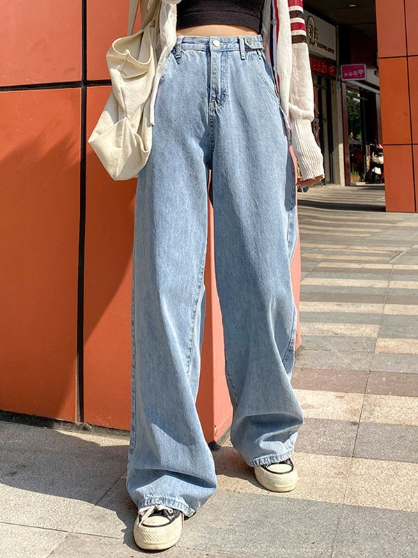 High Waist Baggy Boyfriend Jeans - Blue M