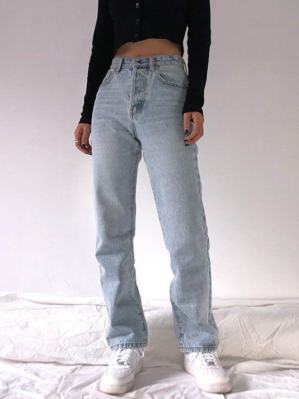 Washed High Waist Boyfriend Jeans - Blue S
