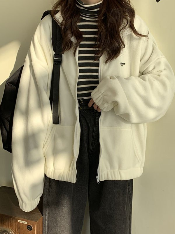 Letter Print Zip-up Jacket - White S