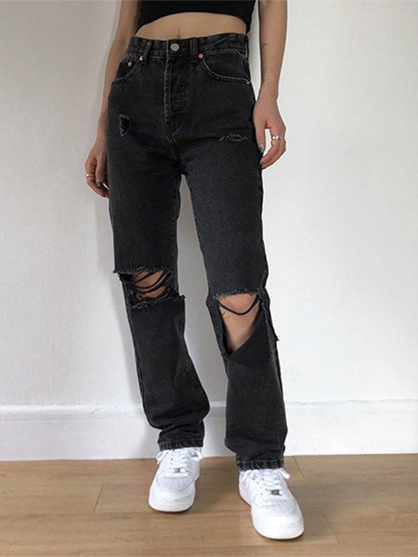 Distressed High Waist Slim Jeans - Black XS