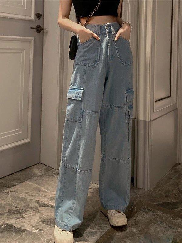 High Waist Baggy Cargo Jeans - Blue M