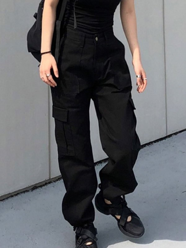 Tapered High Waist Cargo Jeans - Black S