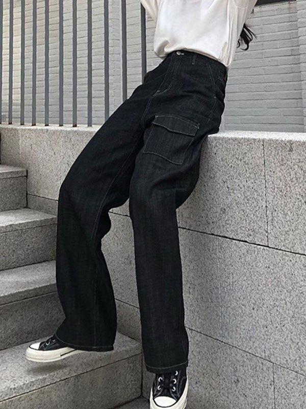 Vintage Straight Cargo Jeans - Black S