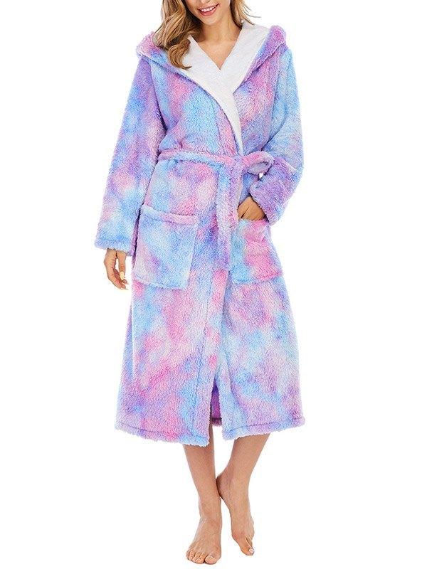 Tie Dye Fleece Lounge Robe - Purple XL