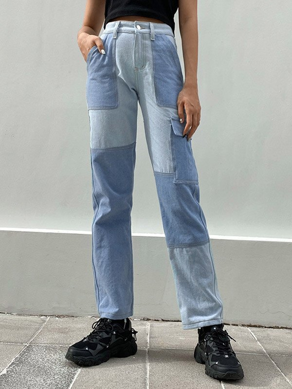 Patchwork Straight Cargo Jeans - Blue S