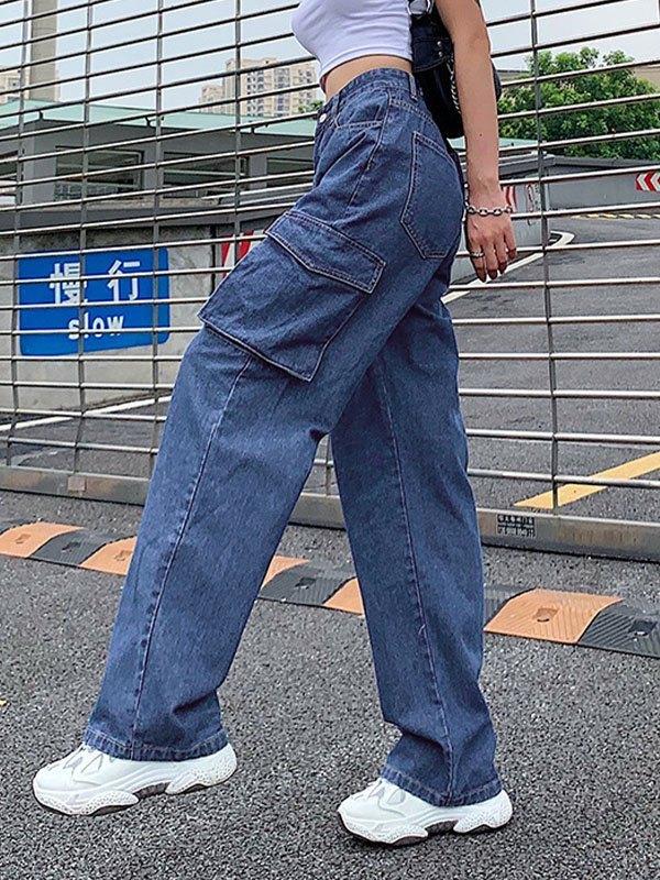 Casual High Waist Cargo Jeans - Blue S