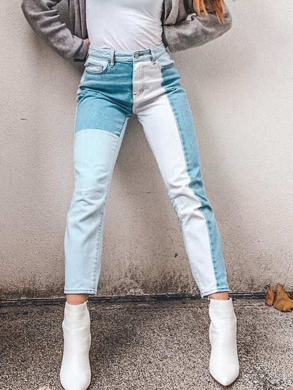 Color Block High Waist Slim Jeans - Blue M