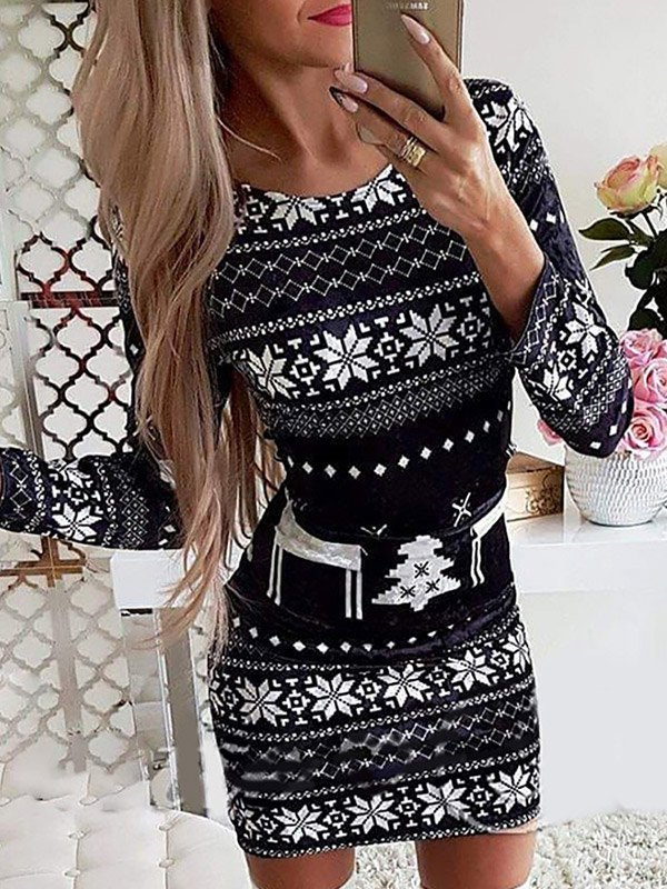 Christmas Print Bodycon Mini Dress - Black S