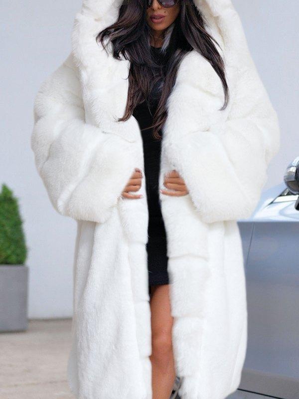 Chinchilla Faux Fur Hooded Long Coat - White 4XL