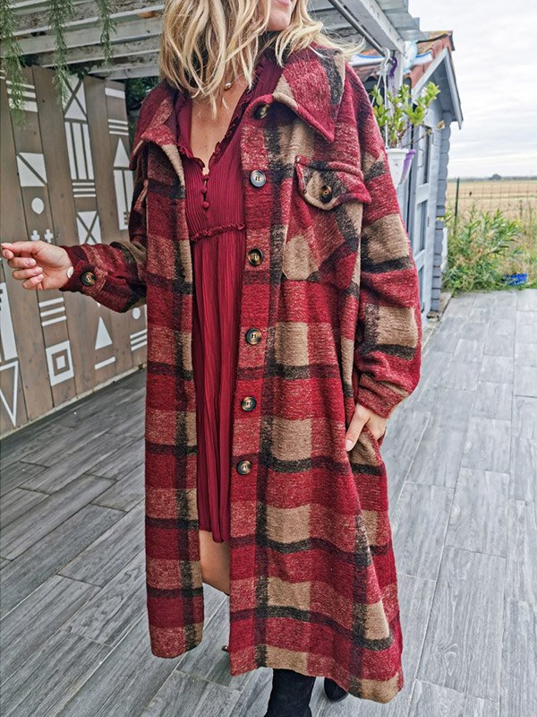 Calf-Length Plaid Woolen Coat - Red M