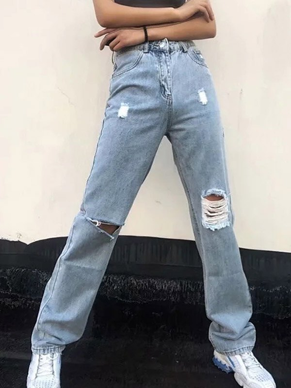 High Waist Frayed Boyfriend Jeans - Blue XS