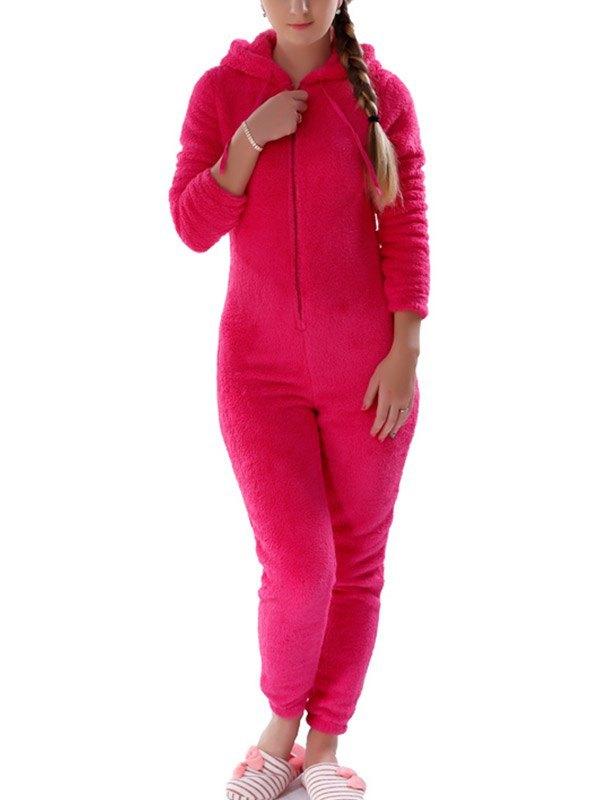 Warm Fleece Hooded Lounge Jumpsuit - Red L