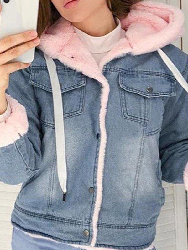 Sherpa Lined Hooded Denim Jacket - Pink M