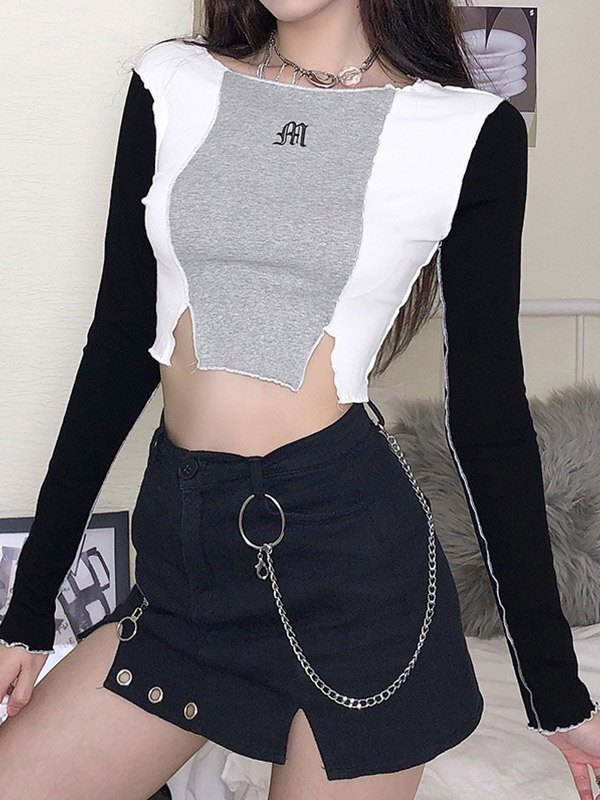 Embroidery Patchwork Cropped Top - Black S