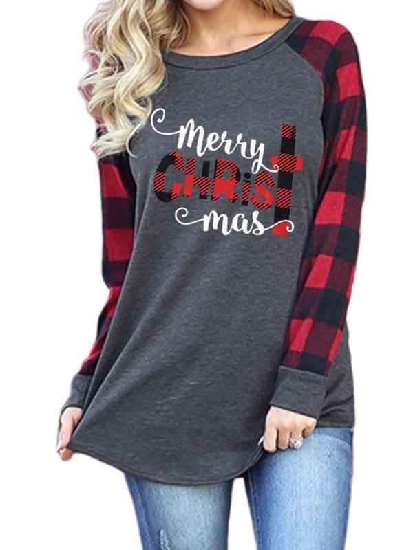 Merry Christmas Raglan Sleeve Sweatshirt - Gray L