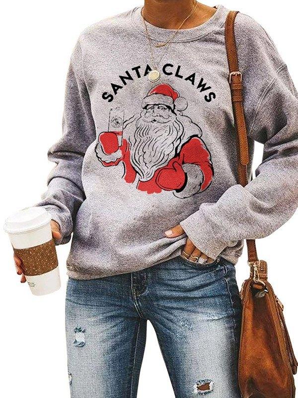 Santa Claws Pattern Sweatshirt - Gray L