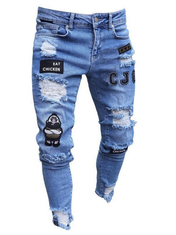 Men's Embroidered Ripped Skinny Jeans -