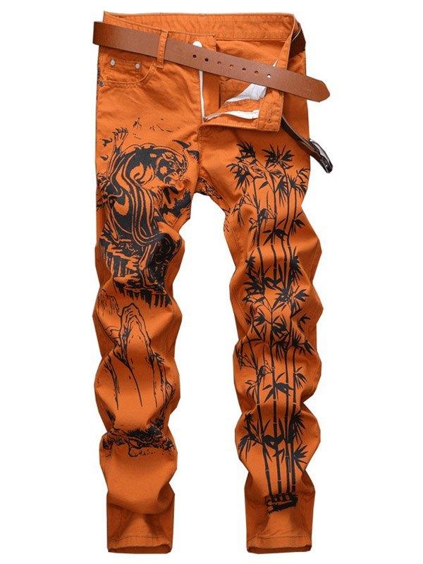 Pantalon slim à imprimé encre pour hommes - Orange S
