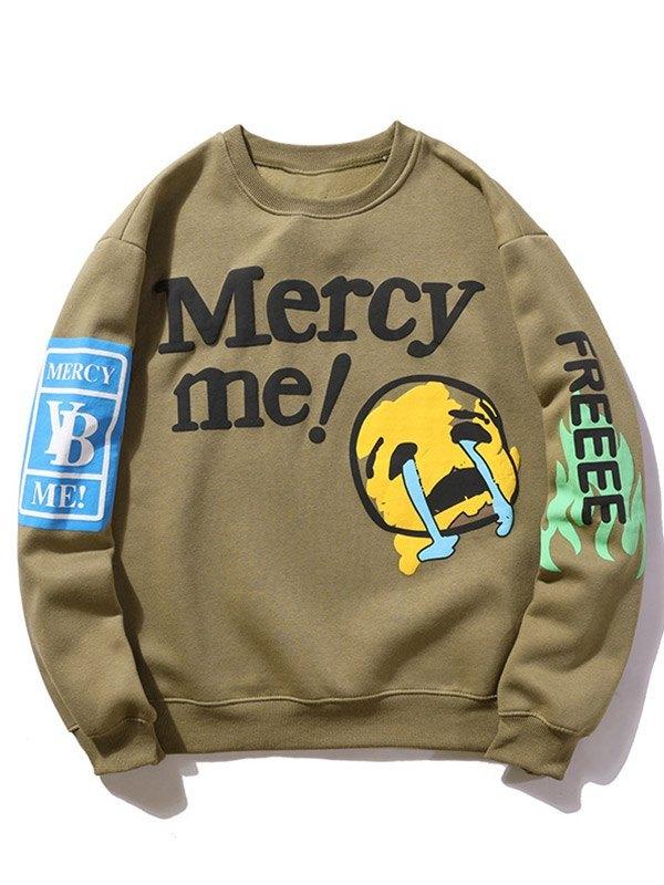 Men's Sad Face Letter Print Sweatshirt - Khaki M