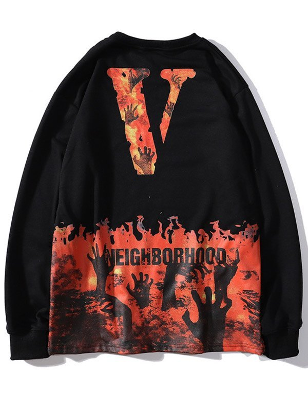 Men's Skull Flame Print Sweatshirt - Black M