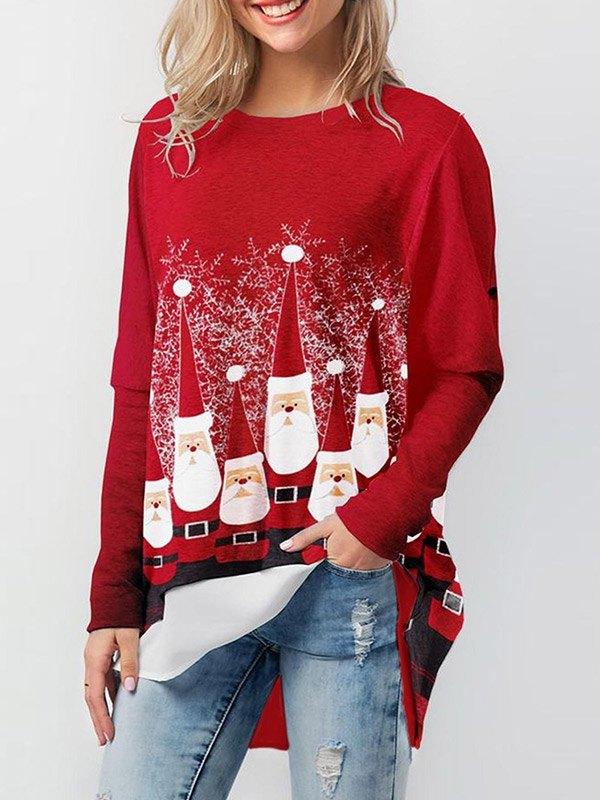 Santa Print Pullover Sweatshirt - Red S