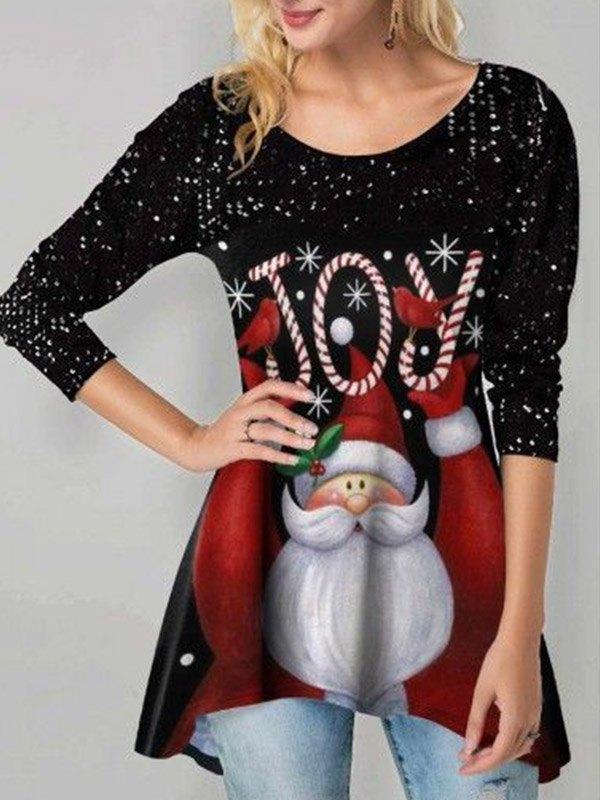 Santa Letter Print Christmas Sweatshirt - Black S