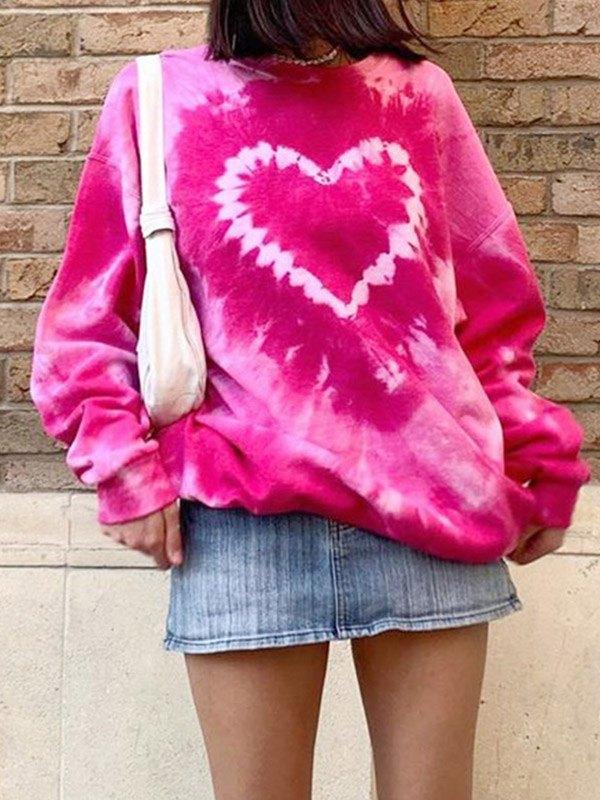 Tie-dye Heart Print Sweatshirt -