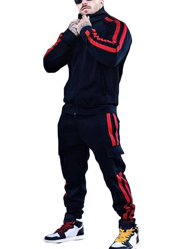 Men's Contrast Stripe Two-Piece Outfit - Black S