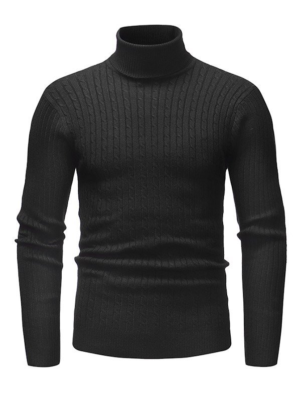 Pull en tricot à col roulé pour homme - Noir S