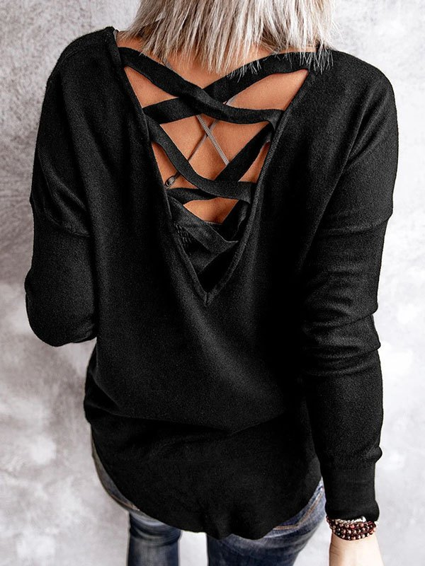 Back Lace-up Sweatshirt - Black XL