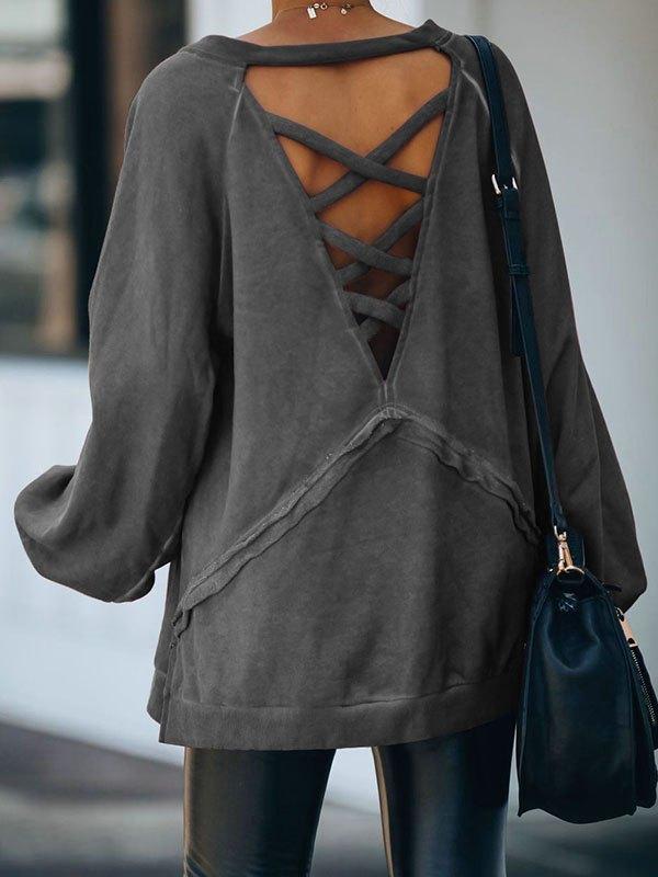 Criss Cross Hollow Back Sweatshirt - Dark Gray S
