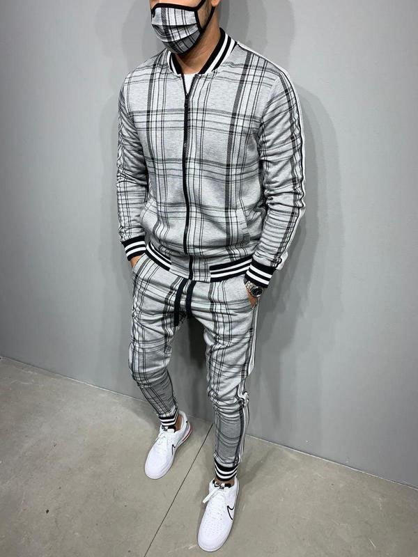 Men's Plaid Casual Tracksuit Two-Piece Outfit - Gray XL