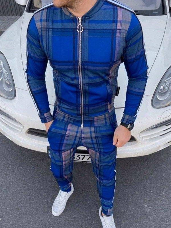 Tuta da uomo a righe scozzesi in due pezzi - Blu S