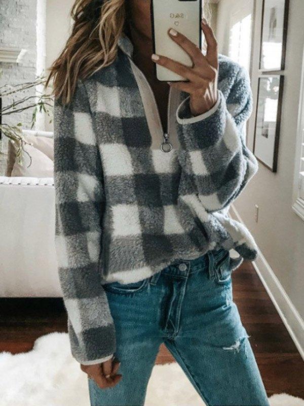Plaid Fleece Zipper Sweatshirt -