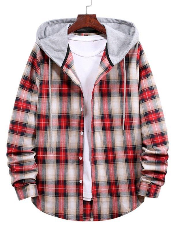 Chemise boutonnée à capuche à carreaux pour hommes - Rouge 2XL