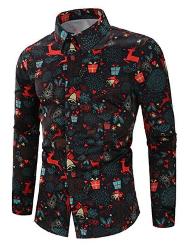 Chemise à manches longues imprimée de Noël pour hommes - Noir XL