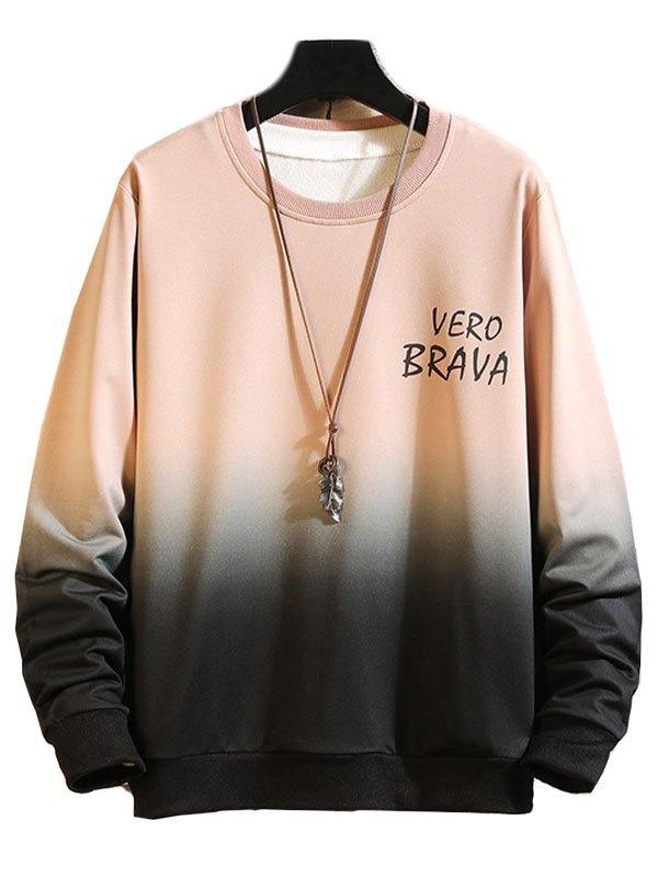 Men's Ombre Letter Print Sweatshirt - Pink M