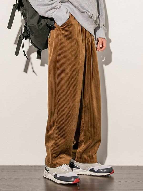Men's Corduroy Straight Pants - Coffee L